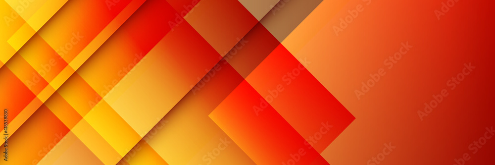 Fototapeta Modern simple red orange yellow abstract geometric background for wide banner. 3D business abstract line stripes background with gradient light