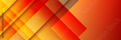 Obraz Modern simple red orange yellow abstract geometric background for wide banner. 3D business abstract line stripes background with gradient light - fototapety do salonu