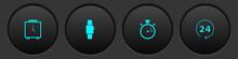Set Alarm Clock, Smartwatch, Stopwatch And Clock 24 Hours Icon. Vector.