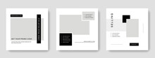 Editable Social Media Layouts With Minimal Design And Black Graphic Elements, Instagram And Facebook Templates, Modern Business Graphic Ideas