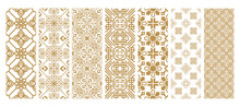 Set Islamic Oriental Ornamental Floral Geometric Arabesque Seamless Pattern. East Motif Pattern On White Background Vector Illustration