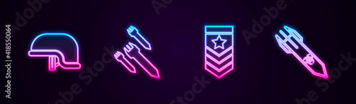 Set line Military helmet, Rocket, Chevron and Biohazard rocket. Glowing neon icon. Vector.