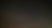 Beautiful Winter Dark Starry Sky. Night Photography, Astronomical Background.