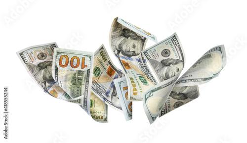 Fotografija Dollar banknotes flying on white background, collage