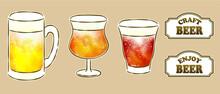 ビールのジョッキとグラスとフレーム付き文字のセット
