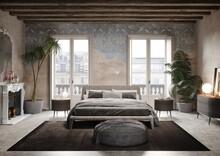 Camera Da Letto Moderna In Ambiente Storico, Muro Vecchio, Affreschi, Rendering 3d