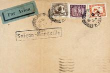 Luftpost Airmail Air Mail Vintage Retro Alt Old Briefumschlag Envelope Briefmarke Stamp Gestempelt Used Frankiert Cancel Post Letter Mail Brief Indochina Saigon Marseille 1936 Beige Dirty Fleckig