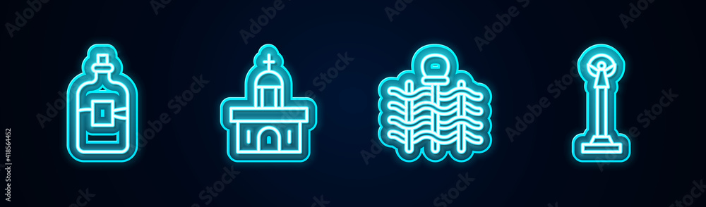 Fototapeta Set line Bottle of vodka, Church building, Wicker fence and Monument Independence. Glowing neon icon. Vector.
