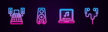 Set Line Music Recording Studio, Stereo Speaker, Laptop With Music Note And Air Headphones. Glowing Neon Icon. Vector.
