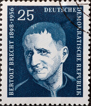 GERMANY, DDR - CIRCA 1957 : A Postage Stamp From Germany, GDR Showing A Portrait Of The Playwright And Poet Bertolt Brecht. Blue