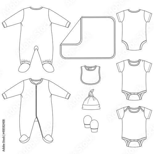 Leinwand Poster Set of Vector Baby clothing Elements