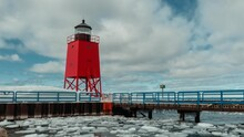 Michigan Lighthouse In Winter. Charlevoix Michigan, Up North Lake. Icey Wintertime.