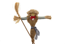 Toy Scarecrow On White Background, Product Photography
