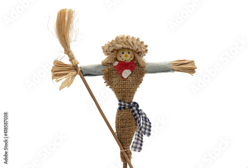 Fotografie, Obraz Toy scarecrow on white background, product photography