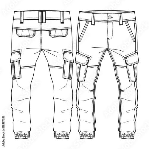 Foto Men Boys Cargo Pocket Pant fashion flat sketch template