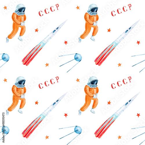 Obraz International Day of Human Space Flight. Watercolor seamless pattern. Soviet Cosmonautics - fototapety do salonu