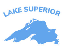 Lake Superior Map Michigan Superior Vector Silhouette Abstract Illustration Map