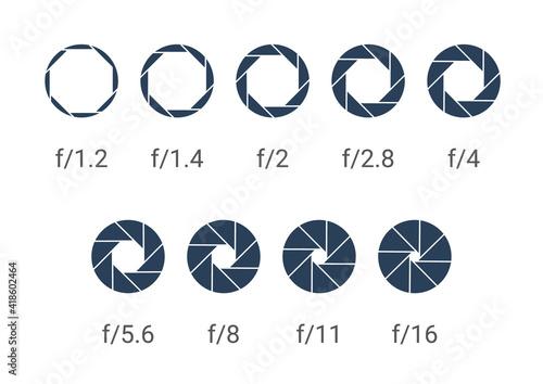 Shutter camera aperture lens icon. Vector shutter aperture logo photography circle open diaphragm