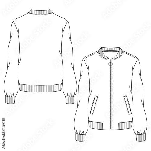 Slika na platnu Women Bomber Jacket fashion flat sketch template