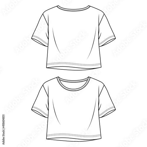 Women Flare Jersey Crop Top fashion flat sketch template Fototapet