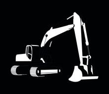 Crawler Excavator White On Black Background