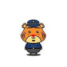 Character Design Of Tiger As A Police,cute Style For T Shirt, Sticker, Logo Element