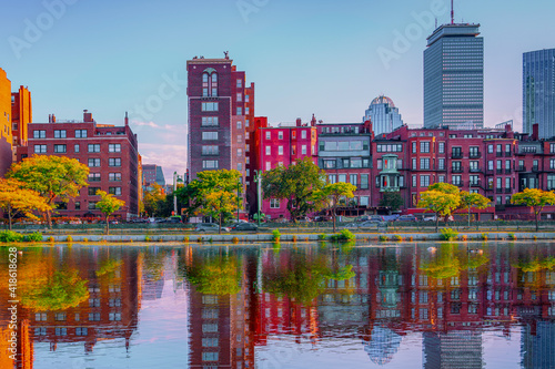 Boston Back Bay Buildings and Reflections over Storrow Lagoon of Charles River Fotobehang