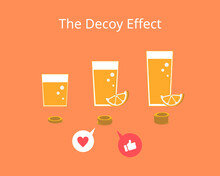 The Decoy Effect For Price Strategy  Which Influence Preference To Buy Vector