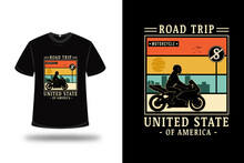 T-shirt Road Trip Motorcycle United State Of America Color Orange Cream And Green