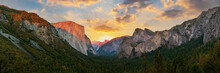 Yosemite Valley Nation Park During Sunset View From Tunnel View On Twilight Time. Yosemite Nation Park, California, USA. Panoramic Image.