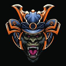 Samurai Gorilla Head Vector Illustration