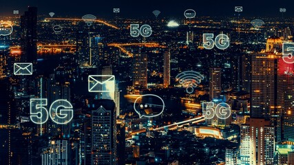 Smart digital city with globalization abstract graphic showing connection network . Concept of future 5G smart wireless digital city and social media networking systems .