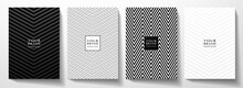 Modern Cover, Frame Design Set. Abstract Creative Line Pattern (herringbone Ornament) In Monochrome Black, White Color. Formal Vector Layout For Notebook Cover, Business Background, Brochure Template