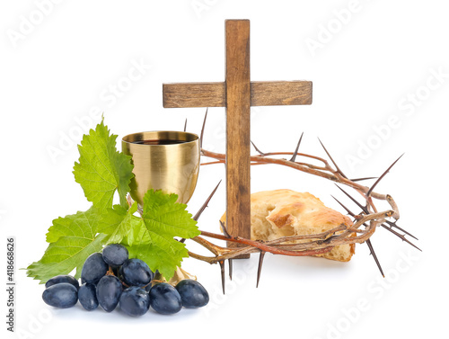 Slika na platnu Chalice of wine, cross, bread and crown of thorns on white background