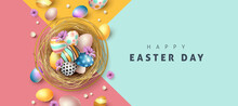 Easter Greeting Card Background With Colored Easter Eggs.