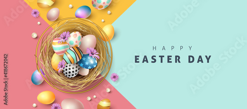 Obraz Easter greeting card background with colored easter eggs.  - fototapety do salonu