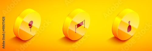 Photo Set Isometric Golf ball on tee, Volleyball net and Bowling pin icon
