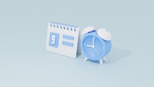 3d Calendar And Alarm Clock For Schedule Event Or Organizer Work Time Concept With Soft Blue Monochrome Color Rendered