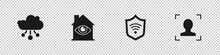 Set Internet Of Things, House With Eye Scan, Shield WiFi Wireless And Face Recognition Icon. Vector.
