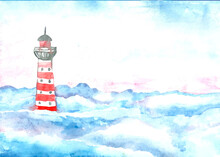 Watercolor Drawing Of A Red And White Lighthouse In The Clouds. Fantastic Handmade Image. The Illustration Is Perfect For A Postcard, Poster, Banner, Wrapper, Print, Design, Invitation.