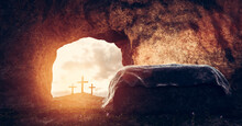 Tomb Of Jesus Christ. Crucifixion And Resurrection. Religion, Easter Theme.