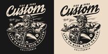 Custom Motorcycle Vintage Monochrome Emblem