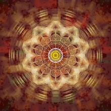 Mandala Prosperidade, Com A Cor Laranja Dourado Em Vários Tons Que Representa A Anergia E Remete A Riqueza, Ao Poder E às Conquistas.