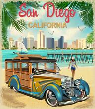 San Diego,California Retro Poster.