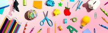 Collection Of School Supplies Overhead View - Flat Lay