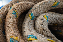 Coiled Rope For Mooring. Cyclades Archipelago, Greece.