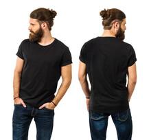 Bearded Man With Blank Black Shirt
