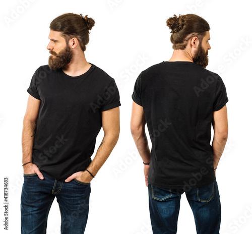 Obraz na plátně Bearded man with blank black shirt