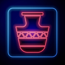 Glowing Neon Ancient Amphorae Icon Isolated On Black Background. Vector.