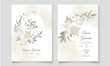 Elegant wedding invitation card with beautiful floral and leaves template Premium Vector